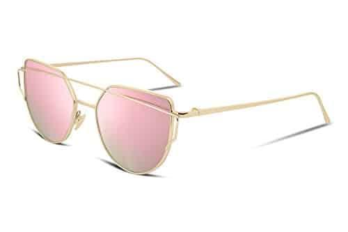 FEISEDY Cat Eye Mirrored Women Sunglasses